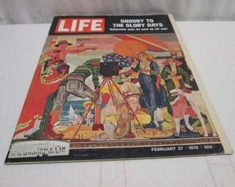 Life Magazine February 1970, Hollywood, Paris Fashion, Ford Mustang, Chevy Camaro vintage ads
