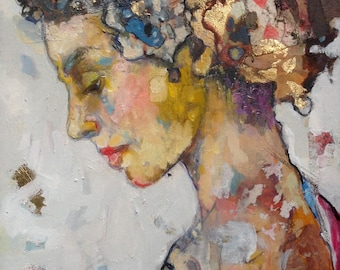 """Limited Edition Mixed Media Print Lady in profile Original mixed media Print on canvas  with gold """"Lucky Alice"""" 12""""x16"""""""