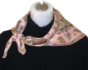 60s Square Scarf Pink Tan Scarf Square Head Scarf Square 1960s Scarf Pink Scarf 60s Square Kerchief Pink Patterned Scarf