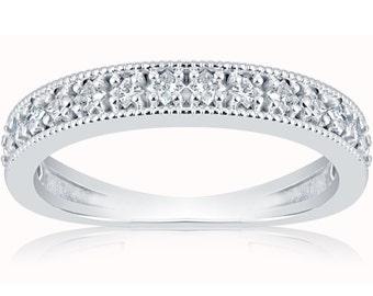 Diamond Wedding Ring, Princess Cut Diamond Ring 1/3ct Stackable Vintage Ring White Gold Womens Princess Cut Diamond Ring Milgrain Band