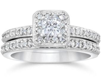 Princess Cut Diamond Halo Engagement Ring Wedding Band Set Matching Wedding Band Princess Cut Diamond Solitaire 1 1/4 Carat 14K White Gold