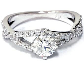 Diamond Engagement Ring 1 1/5ct 14K White Gold Round Brilliant Cut, Natural Diamonds, Engagement Ring, Diamond Ring, Anniversary Ring, 14k