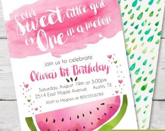 Watercolor Watermelon Birthday Invitation, PRINTABLE Watermelon Birthday Party, Watermelon First Birthday, Watermelon Party Invitation theme
