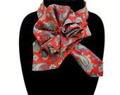 Ladies Necktie Scarf, Countess Mara silk scarf, Necktie Necklace, Upcycled Tie Scarf, OOAK Accessory Ascot Scarflette, Paisley Silk Collar