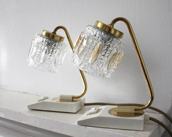 Pair of 1960s Table Lamps. Clear Glass Lampshades, White Bases, Brass Details