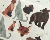 Woodland Animals Stickers for Scrapbooks, Cards, Journals, Planners and More! Fox Wolf Bear