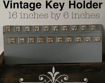 Vintage Key Organizer / key Holder / Jewelry Hook Board .. Industrial Key board..