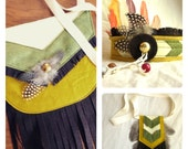 Indian Princess Costume Set // headdress, necklace, satchel // for girls 3 and up // felt, beads, feathers