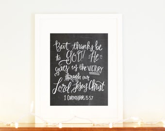 Easter Printable 1 Corinthians 15:57 Victory in Jesus Handletter Chalkboard Scripture Verse Room Decor Modern Calligraphy Instant Download