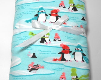 Flannel Fitted Crib Sheet Fits Standard Size Crib or Toddler Mattress Penguin