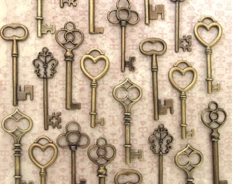 The Ultimate Wedding  Collection - 30 Skeleton Keys in Antique Bronze - 6 Key Styles - Perfect for Wedding Escort Cards and More