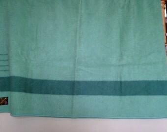Vintage/Antique Trapper Wool Blanket, Green 4 Points Hudson Bay Made in England