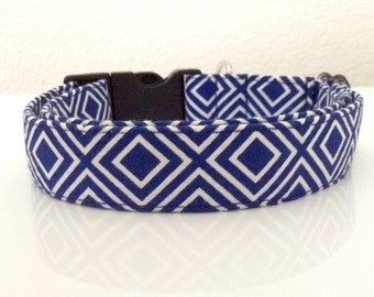 Navy Diamonds - Eco Dog Collar