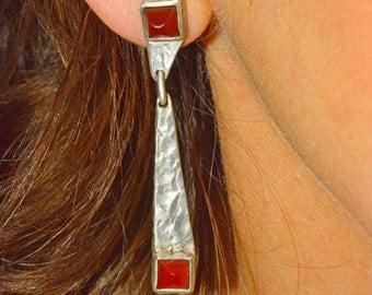 Silver and Carnelian drop earrings