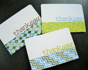 Thank You Cards Set for Him, Set of 3 Cards for Guys, Masculine Thank You Notes