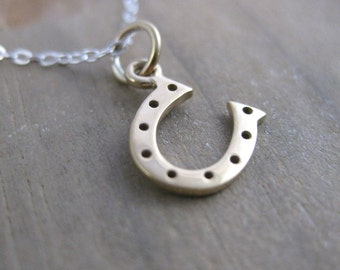Lucky Horseshoe Minimalist Charm Necklace // Mixed Metal // Simple Charm Necklace // Sterling Silver Chain // Custom Length