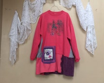 RESERVED  Donated to Westie Rescue - Upcycled plus size Pink Sweatshirt Tunic