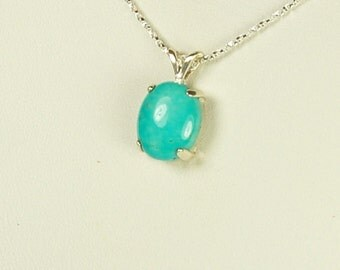 Turquoise Pendant, Bright Blue, Sterling Silver, December Birthstone,  American Turquoise, Natural Turquoise, Blue Turquoise