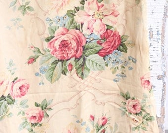 Pink Cabbage Rose Floral Vintage Barkcloth Drapes Drapery Panel Curtains