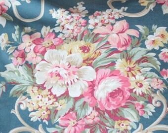 Vintage English Cabbage Rose Scrolled Floral Designer Custom Decorative Throw Pillow