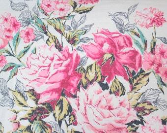 Floral Roses Pattern Vintage Retro Barkcloth Bark Cloth Decorative Throw Pillow