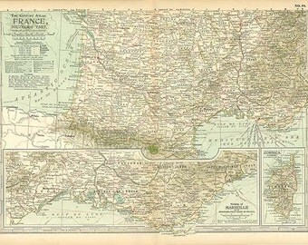ANTIQUE MAP of FRANCE 1902 Century Atlas Southern Part Inserts of Marseille and Corsica