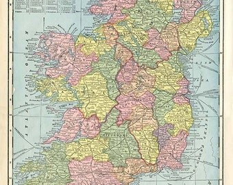 IRELAND and SCOTLAND  Maps from 'The Home Knowledge Atlas' Original Double-Sided Book Page 1899