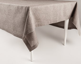 Classic linen and cotton blend table cloth Melange brown tablecloths