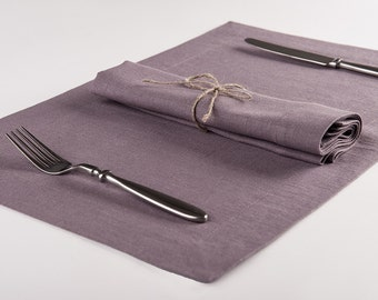 Linen placemat set or Linen table napkin Set of Six, Light purple napkins and placemats by Lovely Home Idea