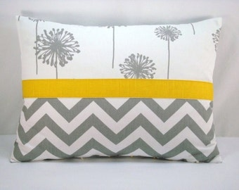 Decorative Chevron and Dandelion Pillow Accent Pillow Grey and White Chevron Lumbar Pillow Cover 13x18