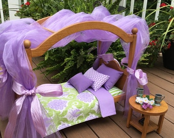 American Girl Doll:  Furniture,  Doll canopy bed, with  green and lavender bedding, tulle, bows