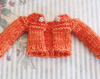 Ooak Blythe Doll Hand Dyed Halloween Orange Superwash Wool Yarn Hand Knit Sweater Cardigan Black White Polka Dot Buttons by Lily Rose