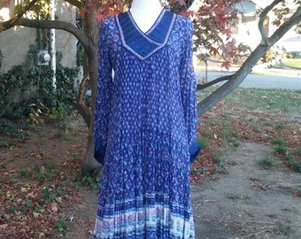 70's India Indian Print Dress PURPLE, Festival Goddess, Nearly MINT Condition