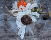 Custom order for Sharon - camo burlap and lace wedding corsages