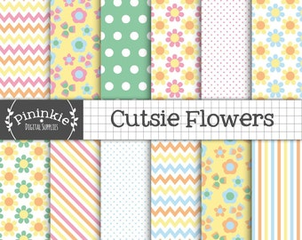 Floral Digital Paper, Commercial Use, Scrapbook Papers, Background, Instant Download