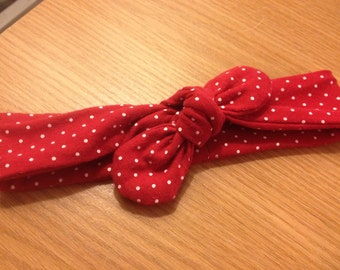 Red and White Polka Dot knot Headband Baby Toddler Girl Christmas Gift