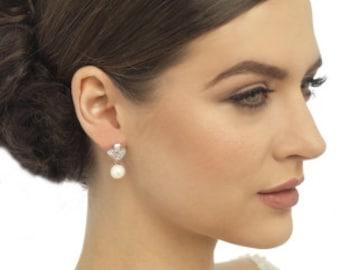 Crystal & Pearl bridal earrings, Deco style drop earrings, ivory pearl earrings, bridal drop earrings, bridal dangly earrings, ivory wedding