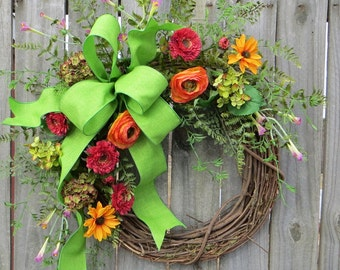 Wreath, Spring / Summer Wreath, Spring, Spring Wildflower Wreath, Door Wreath,Mothers Day,Summer Wreath, Etsy, Horn's Handmade