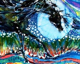 Horse born of Moon Energy  -  vertical - detail print from original batik