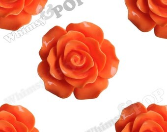 Large Detailed Orange Rose Deco Resin Cabochons, Flower Shaped, 20mm Rose Cabochons (R1-015)