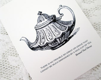 "Teapot with Quote Blank Note Cards ""No Trouble So Great or Grave...""(6)"