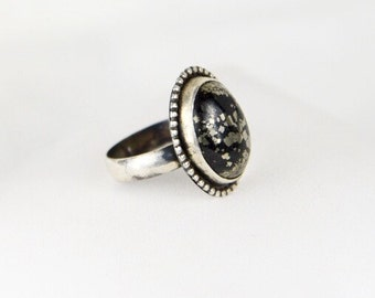 Norwegian onyx with pyrite gemstone cab solitare statement ring in handmade sterling setting ooak