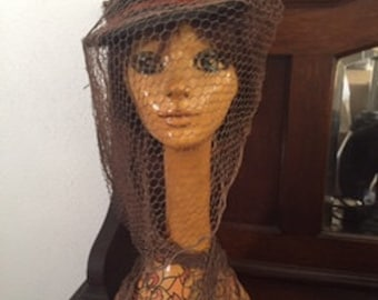 Antique Rare 1920s Touring Hat Riding Hat With Long Open Netting