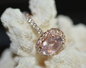 Certified 2.8 carats untreated peach sapphire Rose gold  engagement ring   CATALIN-1151p
