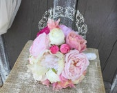 SALE - Bridal Bouquet, Garden Rose Peony and Hydrangea Romantic Bouquet, Ivory, White, Pink, Fuchsia, Peach Flower Wedding Bouquet