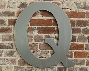 """24"""" Wooden Letter Q, Classic Font in Distressed Gray- all letters available in many colors"""
