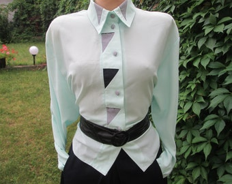 Womens Blouse / Blouse Vintage / Green Bloue / Buttoned Blouse / Size EUR44 / 46 / UK16 / 18