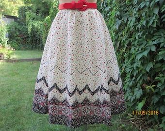 Cotton Skirt / Full Cotton Skirt / Summer Skirt / Skirt Vintage/ Floral / Size EUR40 / 42 / UK12 / 14