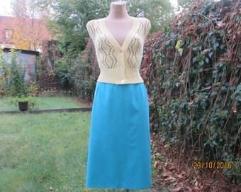 Turquoise Pencil Skirt / Blue Pencil Skirt / Skirt Vintage / Blue Skirt / Pencil Skirt / Size EUR44 / UK16 / Lining / Slit in Back