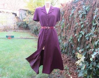 Long Dress / Dress Vintage / Size EUR42 /  UK14 / Buttoned Dress / All Lining / Maroon / Cherry